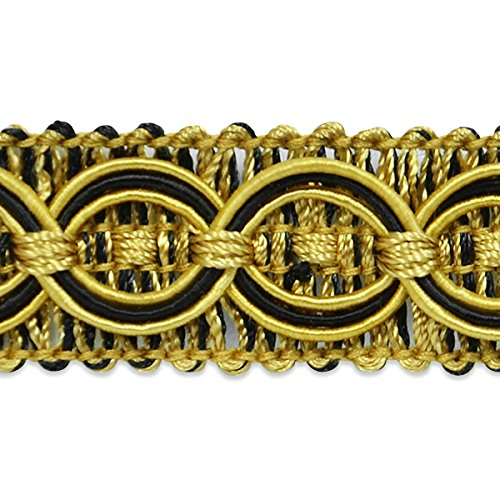 Expo International IR4437CBC-20 20 Yards of Collette Woven Braid Circle Trim, Black/Gold
