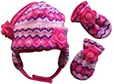 N'Ice Caps Little Girls and Baby Fair Isle Fleece Hat and Mittens Set (Fuchsia Fair Isle Infant, 3-6 Months)