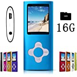 G.G.Martinsen Blue Stylish MP3/MP4 Player with a 16GB Micro SD Card, Support Photo Viewer, Mini USB Port 1.8 LCD, Digital Music Player, Media Player, MP3 Player, MP4 Player