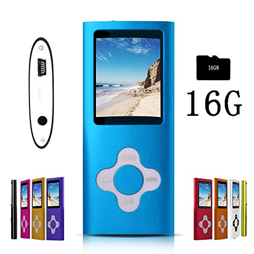 G.G.Martinsen MP3/MP4 Player with a 16GB Micro SD card, Mini USB Port 1.8 LCD, Digital Music Player, Video / Media Player, MP3 Player, MP4 Player, Support Photo Viewer, Recorder & FM Radio - Blue