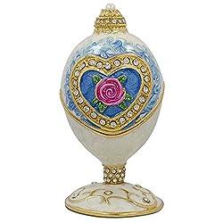 Eau De Rose Inspired Russian Egg - Enameled Jewelry Trinket Box Figurine