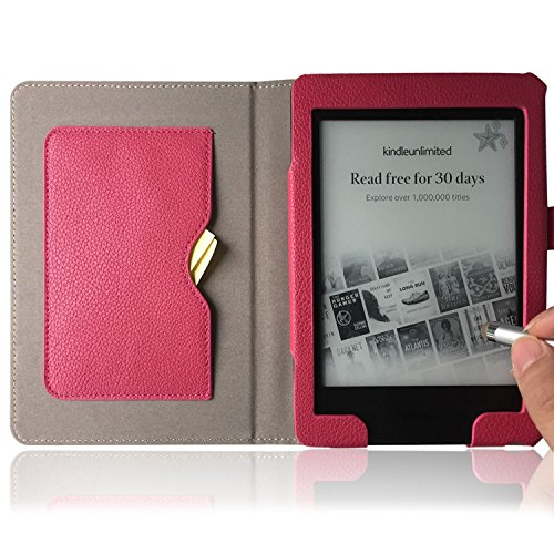 PHARRI New Kindle PaperWhite Lichee Pattern Synthetic Leather Case Folio Ereader Cover, Also Fit for Paperwhite/Paperwhite 2/3, Doucument card pocket, Stylus Pen Free, Auto Sleep/Wake (Magenta)