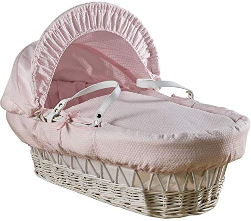 Clair de Lune Cotton Dream White Wicker Moses Basket with Rocking, Pink