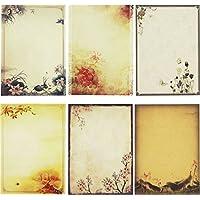 SOOKOO - Papel de papelería para escribir en colores surtidos, 48 piezas, juego de cartas de papel para escribir cartas (6 patrones, 8 piezas cada uno) (Estilo 02)