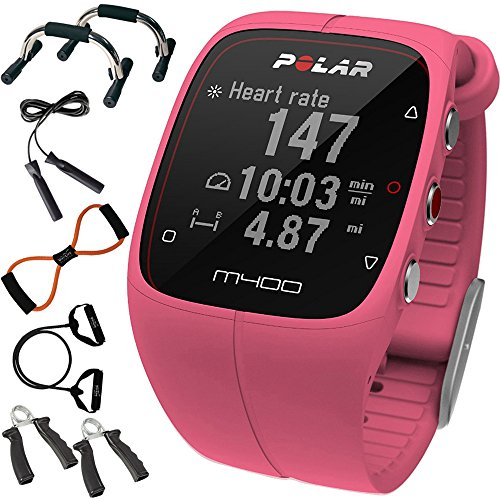 Polar M400 GPS Smart Sports Watch Pink + Sharper Image 7-in-1 Total Resistance Fitness Kit
