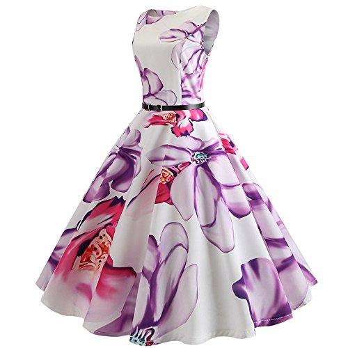 Women Prom Dresses, LIM&Shop Ladies ❤️ Bodycon Music Print Midi Dress Sleeveless Vintage Pleated Mini Dress with Belt Purple