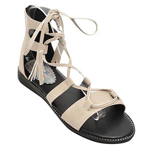 Mee Shoes Damen Flach Quasten High Top Sandalen Beige