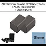 Accessory Kit for Sony Digital Camcorders with 2 Replacement Battery Packs for Sony NP-FV70 For Sony DCR-SR68 SR88 SX44 SX63 SX83 CX110 CX150 CX170 CX300 CX370 CX350 CX550 HC9 XR150 XR350 XR550 MC50 Digital Camcorders +AC/DC Charger +Cleaning Cloth