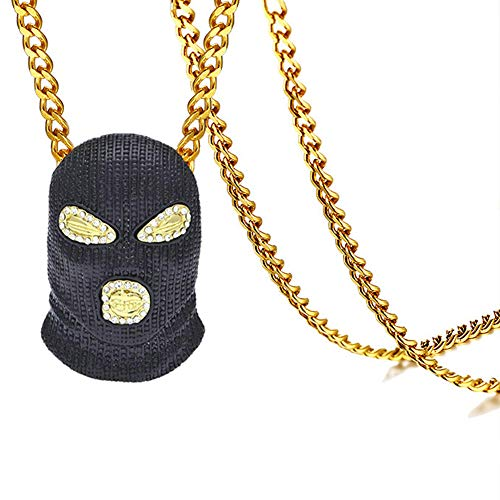 - Xusamss Hip Hop Stainless Steel Black Mask Tag Pendant Crystal Chain Necklace