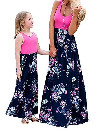 Geckatte Mommy and Me Dresses Casual Floral Family Outfits Summer Matching Maxi Dress (Mom-Large, ()