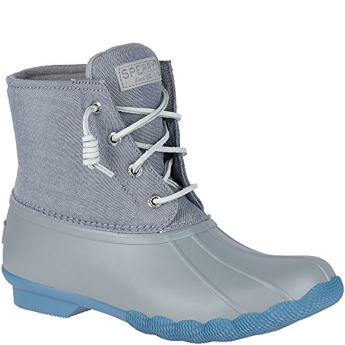 Sperry Top-Sider Women's Saltwater Pop Outsole Rain Boot, Grey/Blue, 5.5 Medium US by Sperry Top-Sider