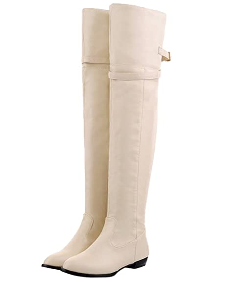 416b6baaf331 HooH Women Thigh High Boots Adjustable Strap Knight Boots Flats Over The  Knee Boots Beige 4