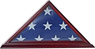 product image for 4' X 6' Flag Display Case Flag Storage Shadow Box Frame (NOT for Burial Flag Size), Solid Wood, Cherry Finish