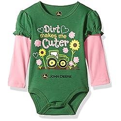 John Deere Baby Girls' Long Sleeve Bodysuit, Green, 3-6 Months