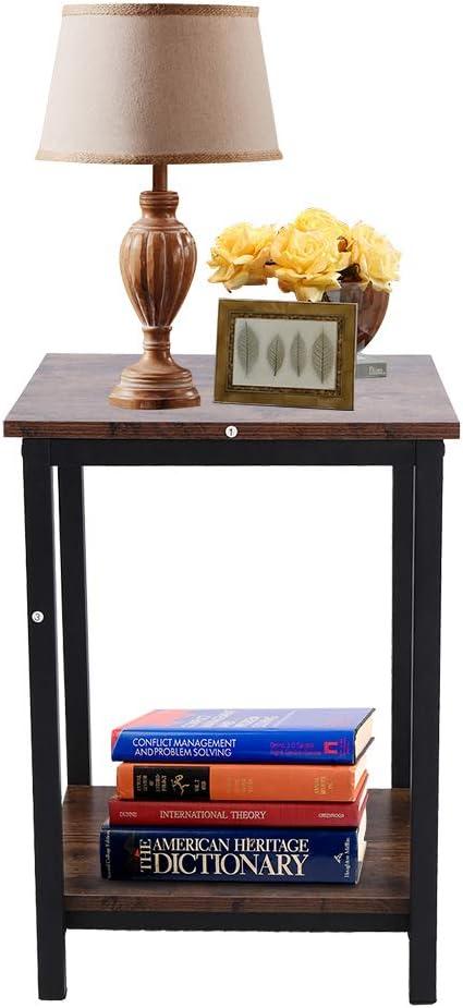 Tavolino a 2 Livelli Industriale Piano Superiore in Legno retr/ò e Struttura in Ferro Balcone per Soggiorno Cucina Marrone Rustico 40 x 40 x 55 cm carico di 30 kg Camera da Letto