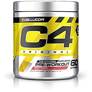 Cellucor C4 Original Pre Workout Powder Energy Drink w/Creatine, Nitric Oxide & Beta Alanine, Fruit Punch, 60 Servings