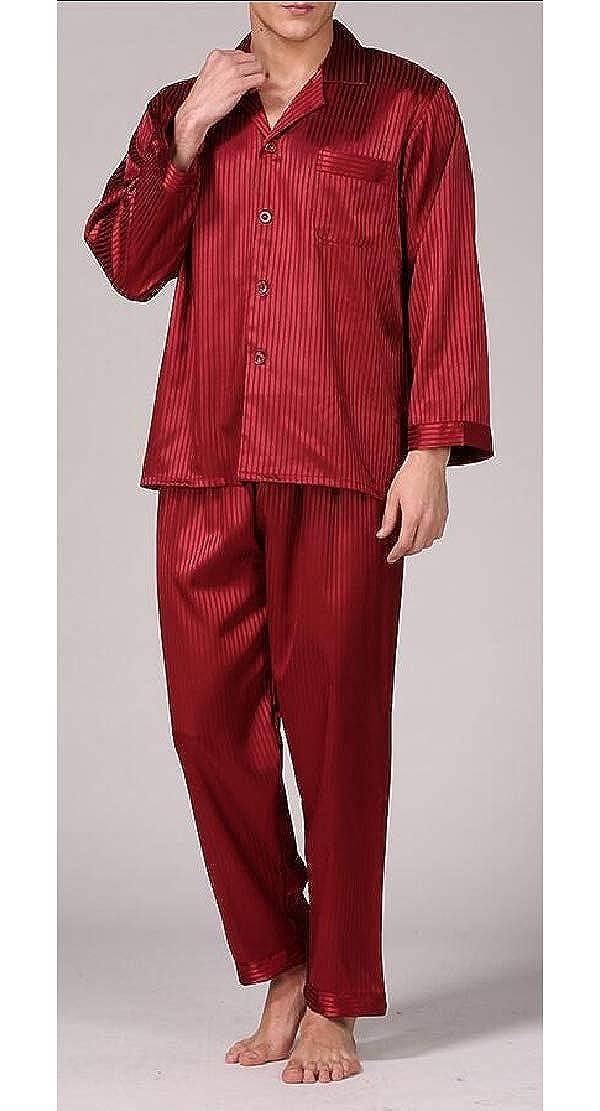 WSPLYSPJY Men Fashion Silk Satin Pajamas Set Sleepwear Loungewear
