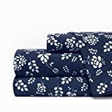 Egyptian Luxury 1600 Series Hotel Collection Basic Floral Pattern Bed Sheet Set - Deep Pockets, Wrinkle and Fade Resistant, Hypoallergenic Sheet and Pillowcase Set - Queen - Navy/White