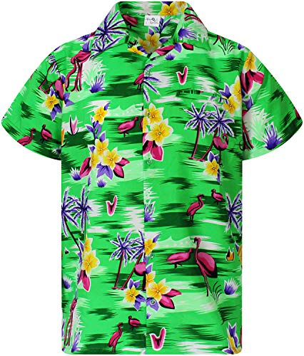 - Funky Hawaiian Shirt, Shortsleeve, Flamingos Old, New-Loud Green, XXL