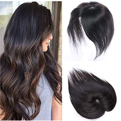 100% Real Human Hair Silk Base Top Hairpiece Clip in Hair Topper for Women Crown in Hand-made Toppee Middle Part with Thinning Hair Loss Hair #1B Natural Black 20