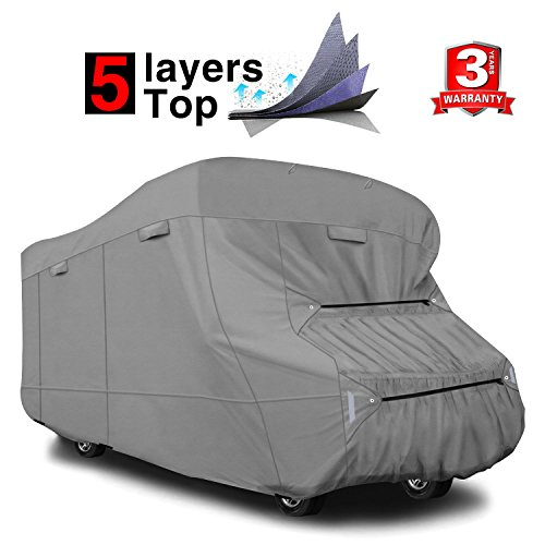 RVMasking Extra-Thick 5-ply Top Class C RV Cover, Fits 23'-26' RVs - Breathable Waterproof Ripstop Anti-UV Class C Cover with 10 PCS Windproof Buckles & Adhesive Repair Patch(25.4