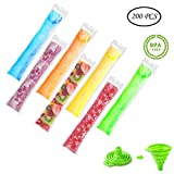 100 juice otter pops - 200 Pieces Disposable Ice Popsicle Mold Bags, BPA Free Ice Pop Bags With Zip Seals For Yogurt, Ice Candy, Juice & Fruit Smoothies, Otter Pops or Freeze Pops Comes With A Funnel