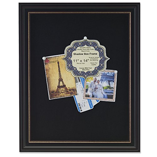 Lawrence Frames Black Linen Display Area Shadow Box Frame with Gold Inner Liner, 11 x 14, Black]()