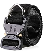 GJP Cinturón Táctico Para Hombre, 3.8 CM Cinturón Negro Uso Rudo Correa De Cintura De Nylon Largo Ligero, Cinturón Deportivo Con Hebilla De Metal 132CM, Liberación Rápida Para Actividades Al Aire Libre #SZ1001