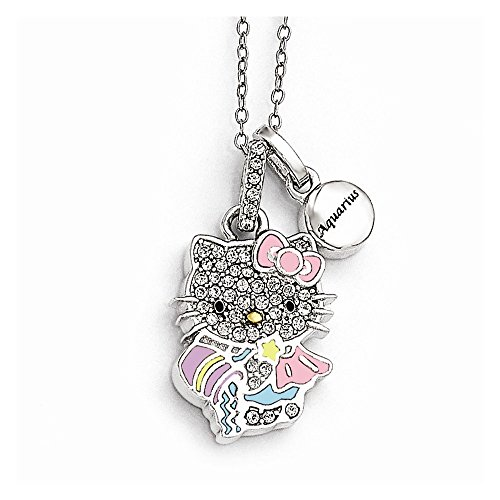 Jewelry Pendants & Charms Themed Charms Sterling Silver Hello Kitty Crystal/Gold-tone/Enamel Aquarius Necklace