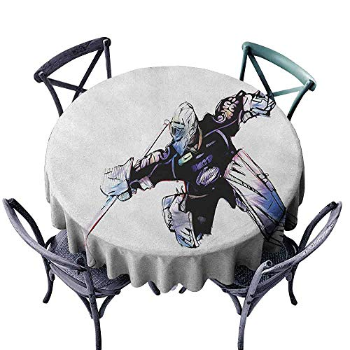 (Hockey Washable Table Cloth Goalkeeper in Hand Drawn Style with Protective Gear in a Competitive Game Easy Care D47 Purple Black White)