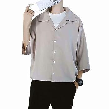 YIMANIE メンズ シャツ オープンカラーシャツ ストリートモード ベーシック 開襟シャツ 半袖 ビッグシルエット レーヨンタッチ 無地 おしゃれ カジュアル ゆったり ワイドシャツ 夏 アロハシャツ