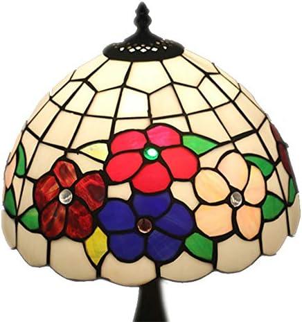 ステンドグラススタイルテーブルランプ12インチヴィンテージパストラルゴージャスな花のベッドルームランプベッドサイドランプ WELSUN (Size : Antique Resin Base)