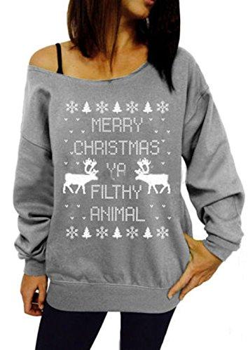 Scothen Traje de los copos de nieve de la pared del reno de Santa de las mujeres Traje de oscilación de la Navidad suéter Bambi de la manga larga de la Navidad del jersey con el suéter retro del reno Grey