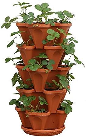 Amazon Com Mr Stacky 5 Tier Strawberry Planter Pot 5 Pots Garden Outdoor