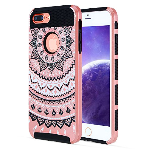iPhone 7 Plus Case Design Floral Hard Cover, iPhone 7 Plus Cover Case Black,Tough Armor Hybrid Rugged Shockproof Dual Layer Heavy Duty Bumper Protective Case for Apple iPhone 7 Plus 5.5 Inch-Rose Gold