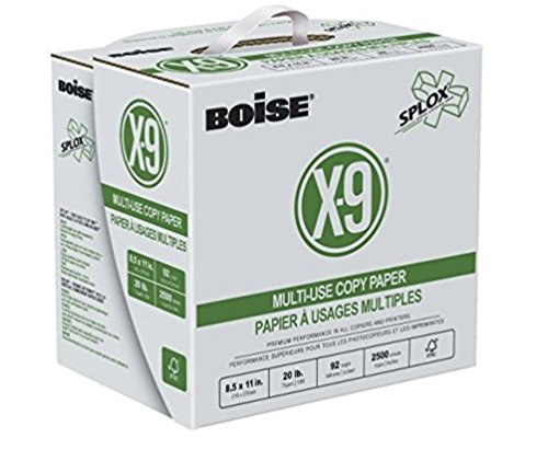 BOISE X-9 Multi-Use Copy Paper, SPLOX (Easy carry box), 3-Hole Punch, 92 Bright, 8.5 x 11, Reamless (2,500 (Three Hole Punched)