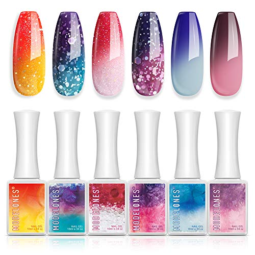 Gel Nail Polish Glitter Color Changing Gel Polish by Modelones