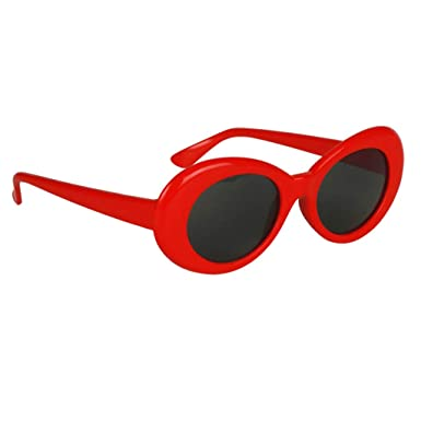 3461243b70 Phenovo Novelty Oval Mod Thick Sunglasses Clout Goggles Sun Protection  Unisex - Red