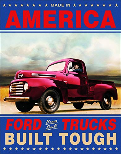 Desperate Enterprises Ford Trucks Built Tough Tin Sign, 12.5