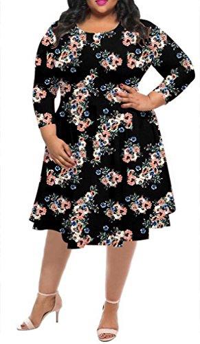 Delcoce Women Long Sleeve Floral Print High Waist Midi Flare Dress Plus Size 4XL