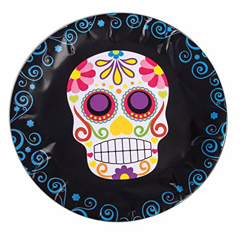 Day of the Dead Luncheon Dinner Round Plates Halloween Table Party Supplies 8 Ct