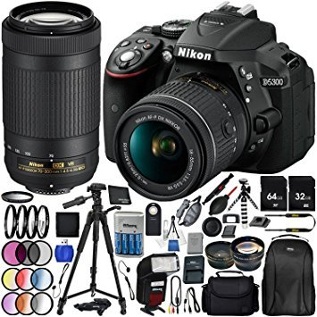 "Nikon D5300 with AF-P DX 18-55mm f/3.5-5.6G VR + Nikon AF-P DX 70-300mm f/4.5-6.3G ED VR 25PC Accessory Bundle - Includes 64GB & 32GB SD Memory Card + 72"" Tripod + Automatic Flash w/ LED Light + MORE from Nikon"