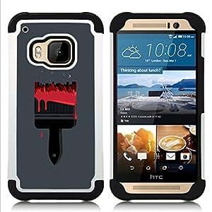 - paint brush red blood painter grey - - Doble capa caja de la armadura Defender FOR HTC ONE M9 RetroCandy