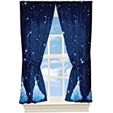 4pc Disney Cinderella Curtain Set Princess Night Sparkles Window Panels and Tie-Backs (82 wide  x 63 length )inches