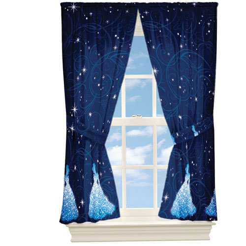 4pc Disney Cinderella Curtain Set Princess Night Sparkles Window Panels And Tie Backs Amazoncouk Kitchen Home