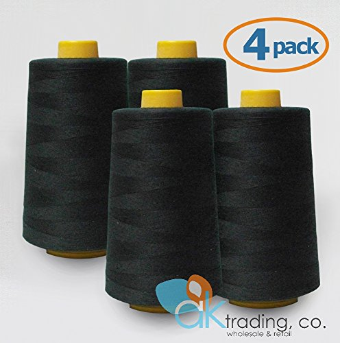 AK-Trading 4-Pack BLACK Serger Cone Thread (6000 yards each) of Polyester thread for Sewing, Quilting, Serger