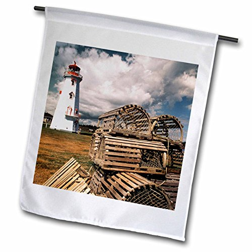 - 3dRose fl_189283_1 Canada, Prince Edward Island, East Point Lighthouse and Lobster Traps Garden Flag, 12 by 18-Inch