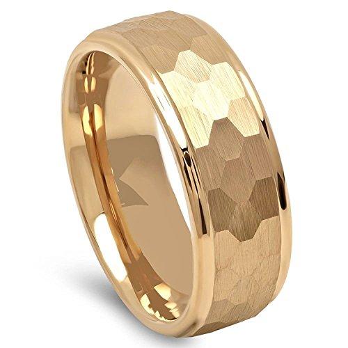 Milo Bruno Modern Hammer Tungsten Wedding Ring (Gold) - 10 (8mm Band Hammered Ring)