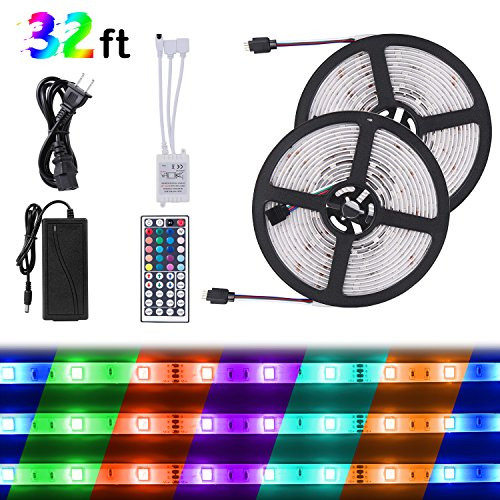 SUNNEST Remote Controlled LED Strip Kit, 2 x 16.4FT 300LEDs SMD5050 RGB Strip Light, Waterproof Rope Light with 44-Key IR Controller + 12V Power Supply for Home Garden Decoration by SUNNEST