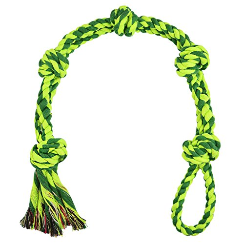 EEToy Dog Tug Rope,Extra Large Dog Toy,5-Knot Rope Tug,Heavy Duty Chew Sturdy Cotton Knot Rope Toy for Large Breed Dogs,Indestructible Rope Best for Tug-of-War and Indoor or Outdoor Play